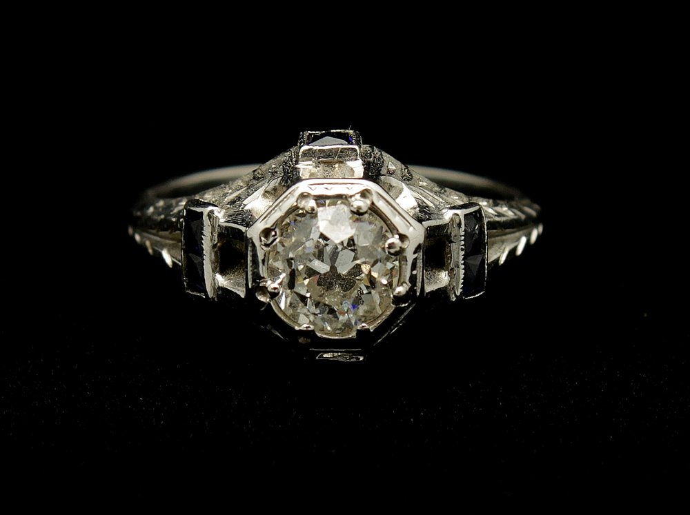 Antique 18kt Diamond Old European cut .75cts and Sapphire Ring