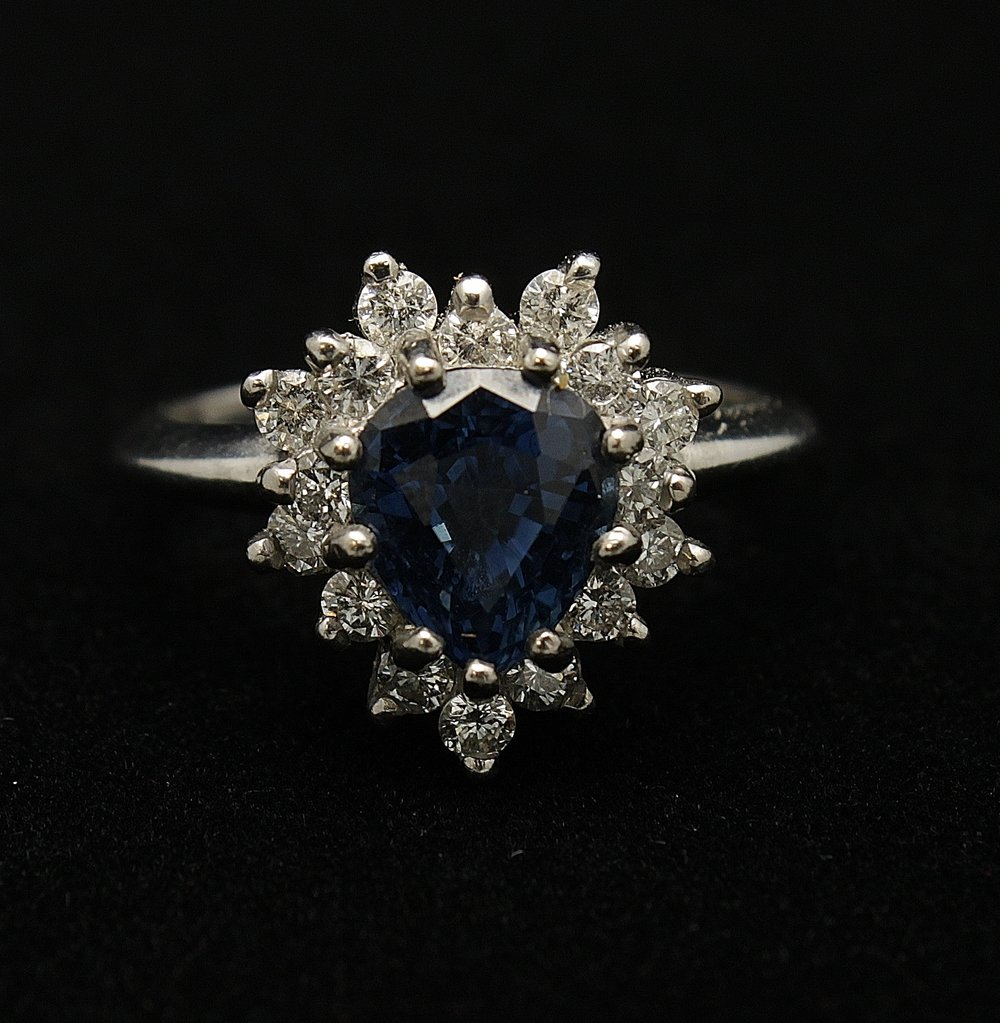 Vintage Platinum Diamond .80cts and Sapphire 2cts Ring