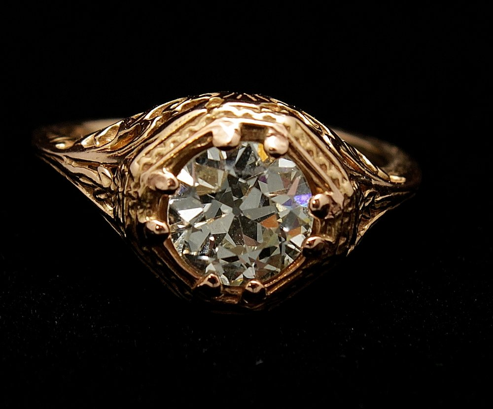 Antique 14kt Diamond Old Mine Cut 1.24cts Ring