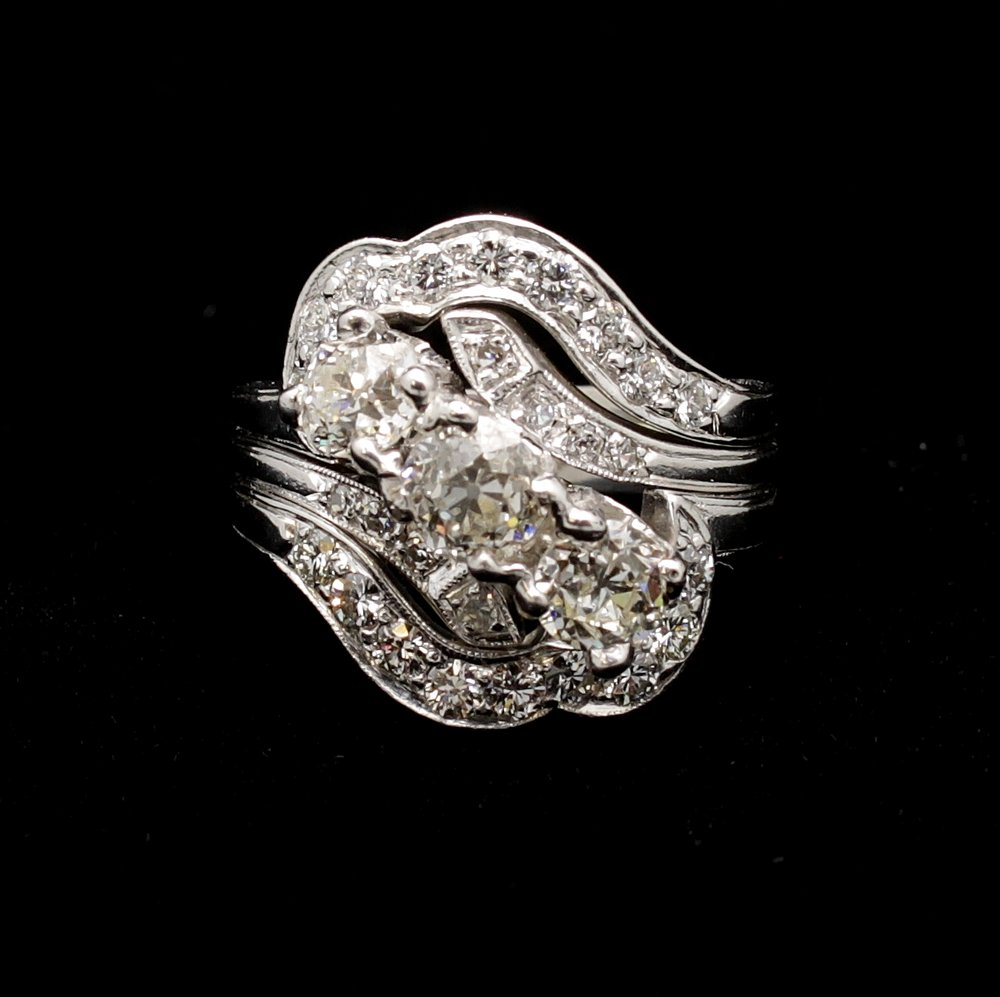 Antique Platinum Diamond Old European Cut 3.5cts Ring