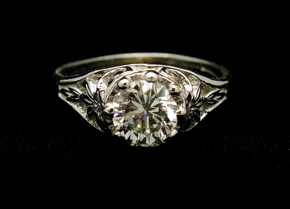Antique 14kt Diamond Old European Cut 1ct Ring