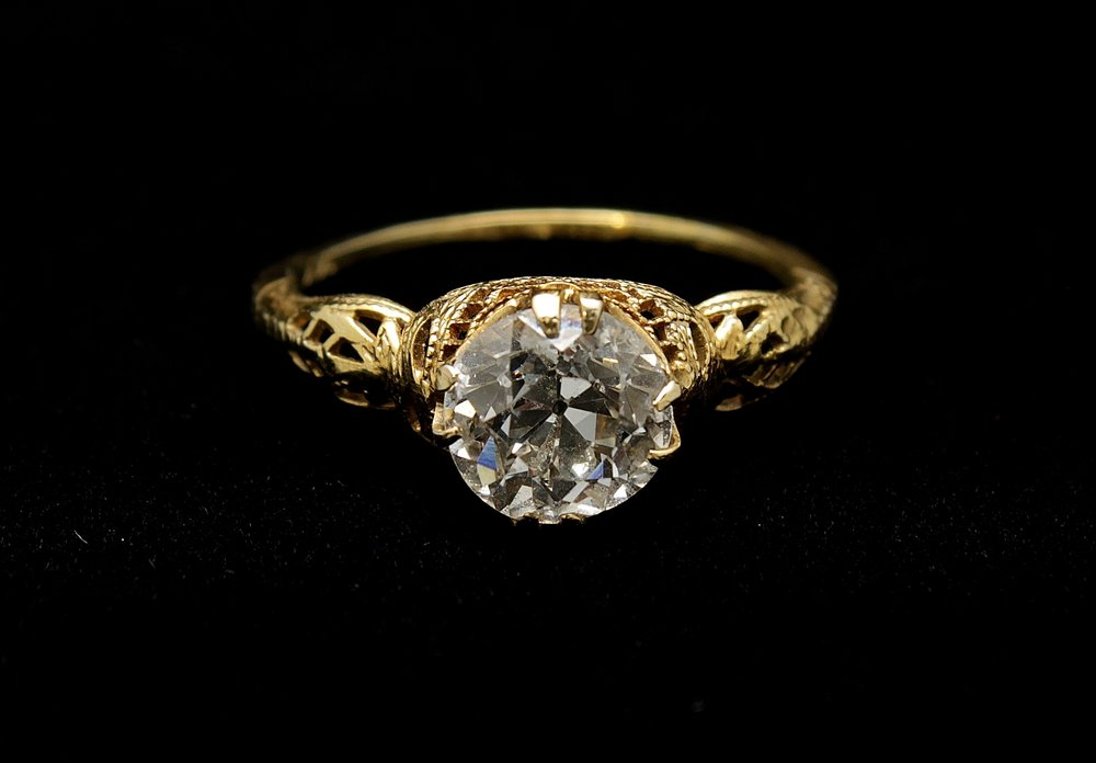 Antique 14kt Diamond Old European Cut Ring 1.67cts
