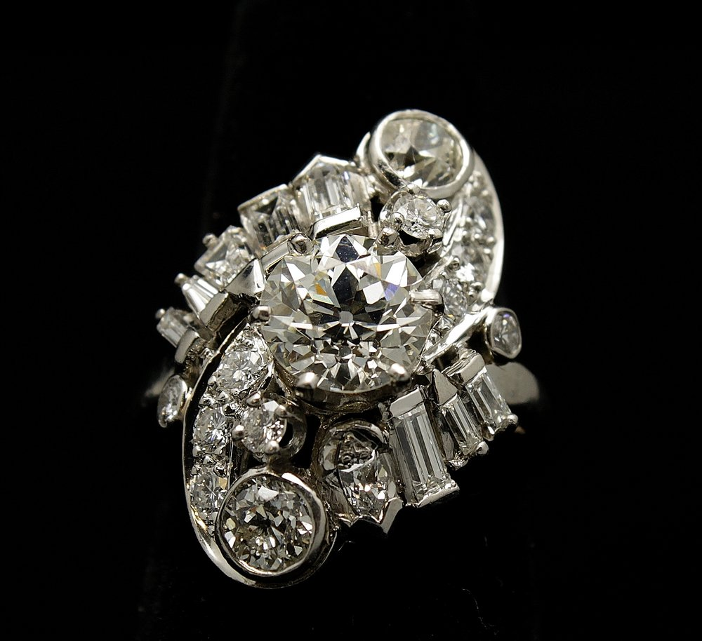 Antique Platinum Diamond Old Mine Cut Ring 5.3 cts
