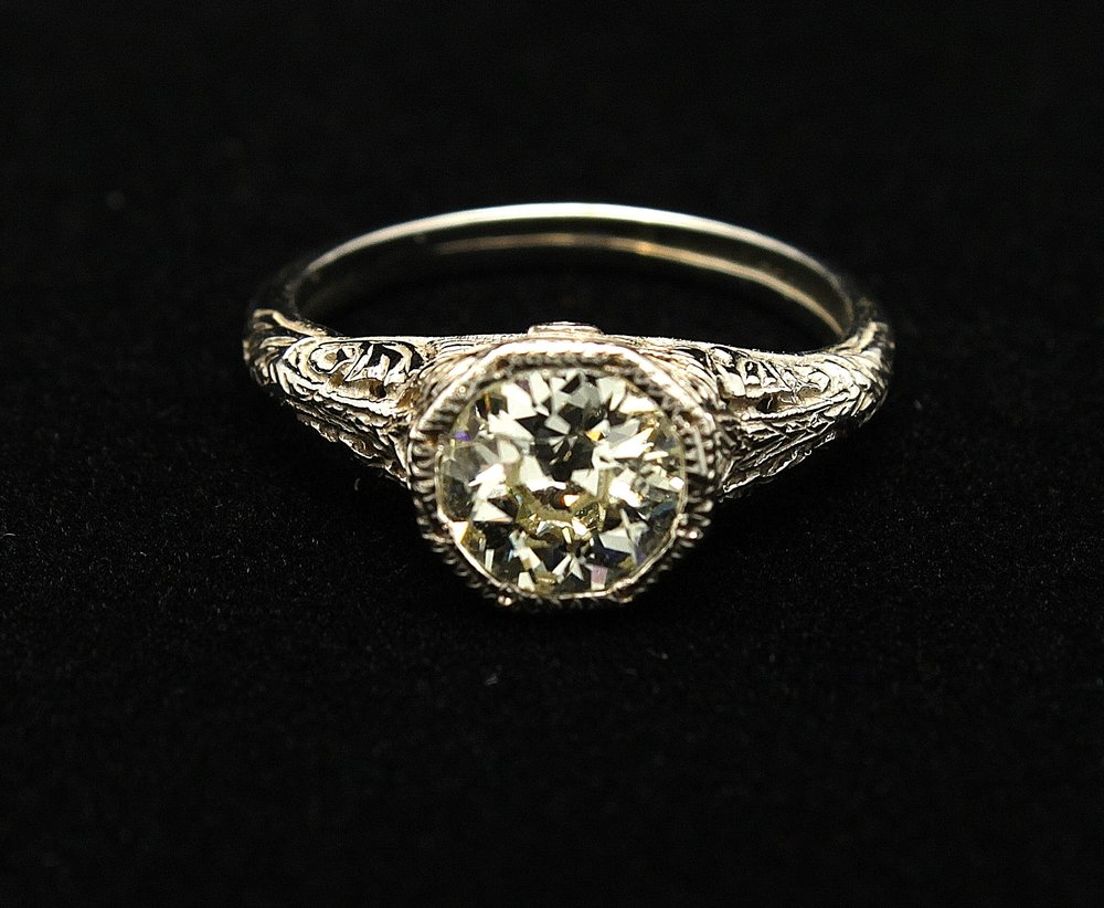 Antique 14kt Diamond Old European Cut Ring 1.10cts