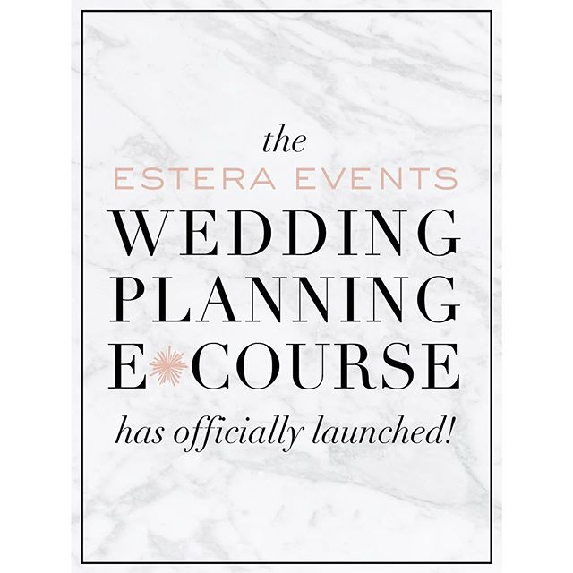AND WE ARE LIVE!!! 🍾 We've spent countless hours working on the Estera Events Wedding Planning E*Course and we are SO excited to finally share it with the world. Click the link in my profile to learn more about it and buy yours!  If you know anybody who is engaged and could benefit from this, tag them below and feel free to share with your friends :) The more the merrier! The average couple spends over 200 hours planning their wedding. yes. 200 hours. Planning a wedding is so much fun, but it's a major time investment.  Let's be completely straightforward here. This product will not replace the role of a wedding planner. No product is capable of having somebody physically on site the day of your wedding running the show and handling any mishaps with ease. We encourage you, as we encourage everyone, to allow yourself the privilege of being present on your wedding day, and have someone else to handle the coordinating  We've created this E*Course to help answer the questions that come up at 10:00pm when you and your fiancé are a bottle of wine deep creating your guest list. The floral thoughts and concerns that have you wide awake at 3:00am, and the answers to the venue questions your future mother in law has already called you about 3 times this week. You can spend 200 hours researching, or you can click open your Wedding Planning E*Course and have all of those questions answered for you by seasoned industry professionals that have been named among the best in the country.  So we ask you this. How much do you value your time? If you were to ask us, we think your time is better spent sipping champagne and staring at your shiny new ring than researching the difference between a place card and an escort card. Thank you to everyone for your continued support. It means the 🌎 to us, and we are so appreciative to the love this industry has shown us! Now, we celebrate! xo