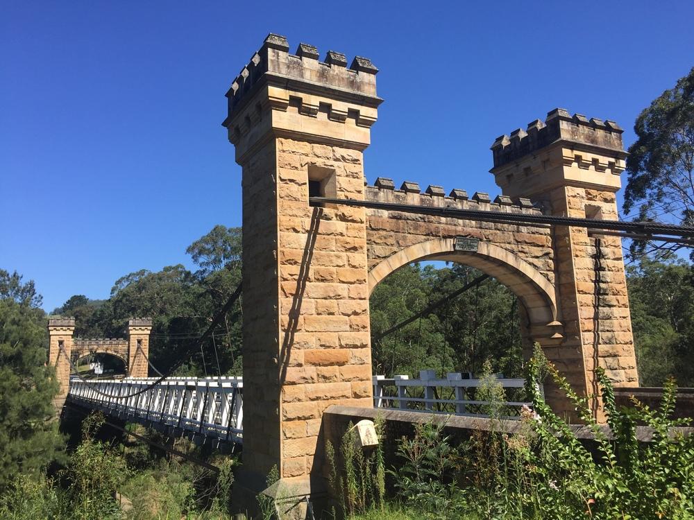 Hampden Bridge in Kangaroo Valley. Oldest wooden suspension bridge in Australia.