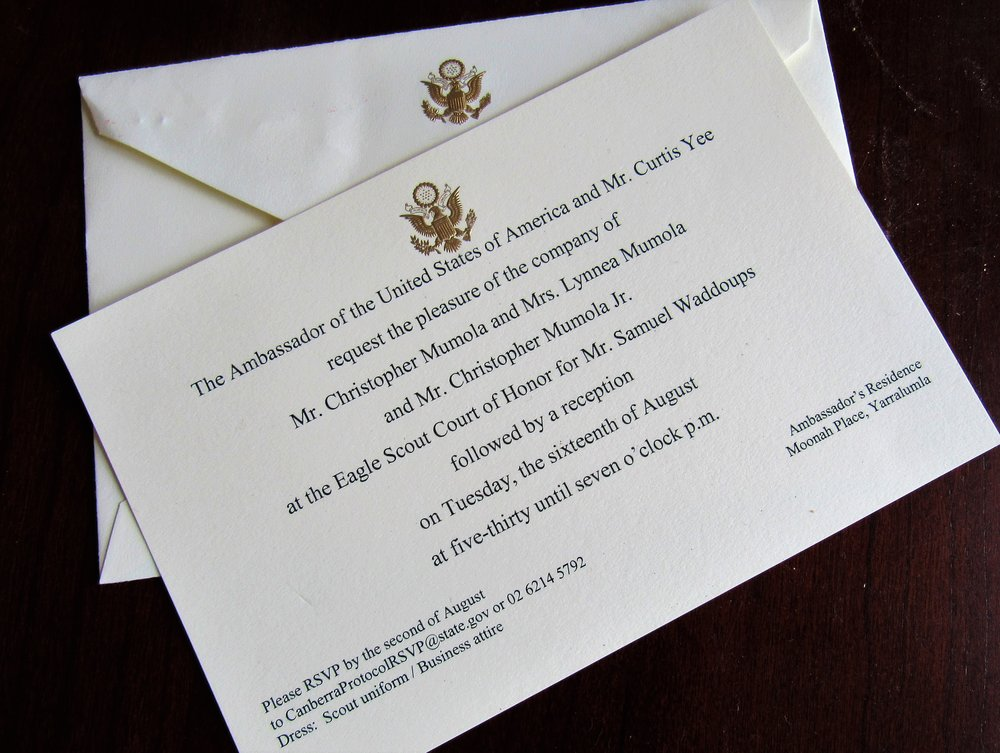 The invitations sent by the protocol office: we had no idea it would be so fancy shmancy!