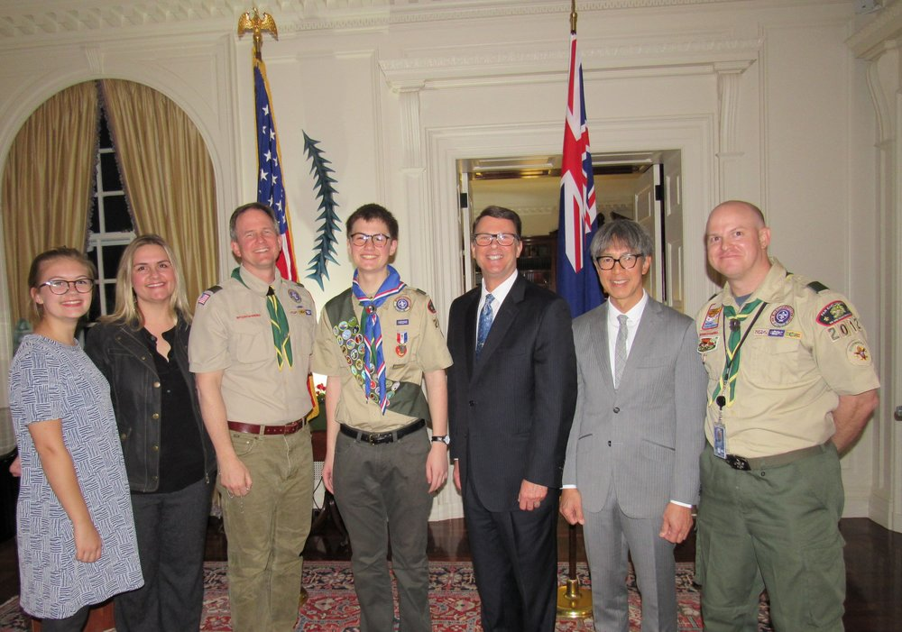 (from left) the 4 Waddoupi, Ambassador Berrey, his partner Curtis, scoutmaster Chris Odell.