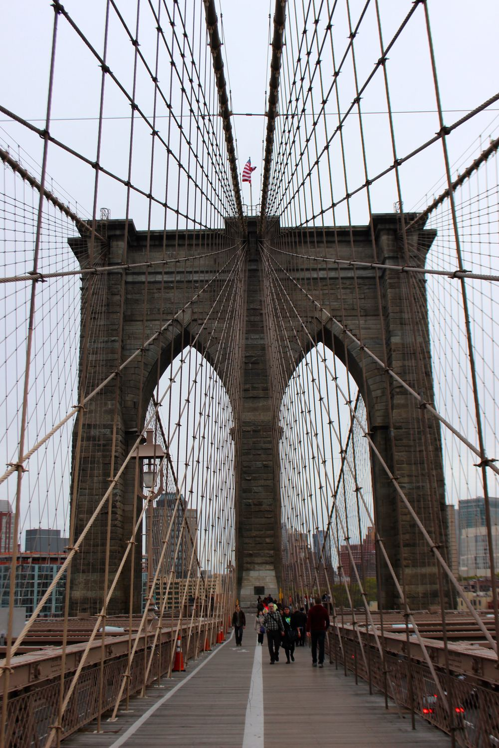 Over the Brooklyn Bridge on an overcast Columbus Day.