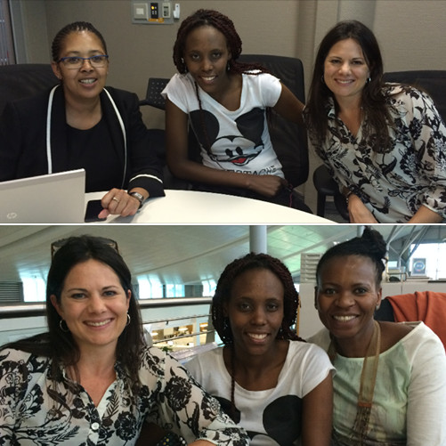 TOP:   DESIREE POOE, MPHO MOKOENA AND LARA SMITH (DEVMAN)    BOTTOM: LARA SMITH (DEVMAN), MPHO MOKOENA AND NOMATHEMBA MAPHONGWANE