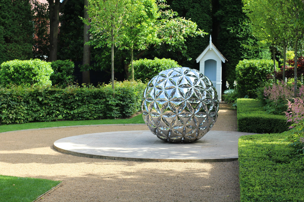 Garden Sphere  Inflated metal sphere sculpture - 1.5m∅ geodesic sphere constructed from inflated metal triangular units in mirror polished stainless steel