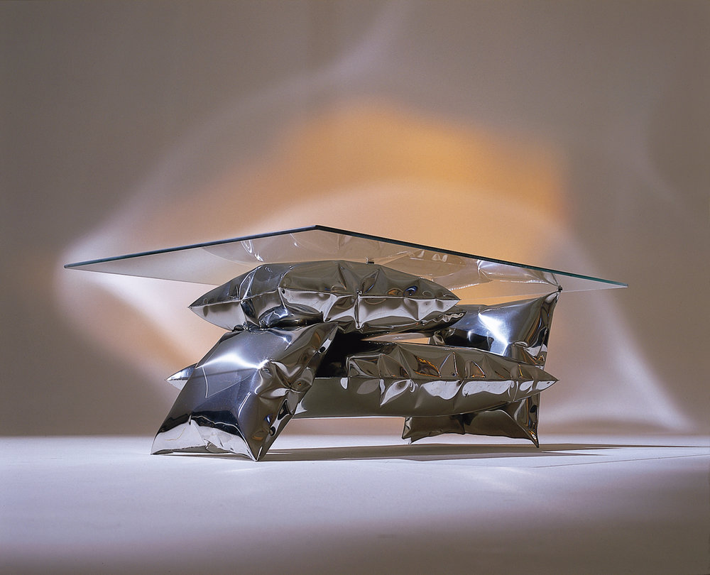 Balance Table   Inflated metal table in mirror polished stainless steel (please see our  collection  for further details)