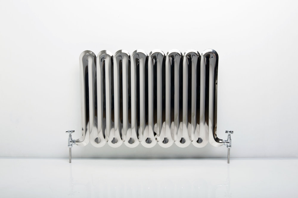 The Big Squeeze - inflated metal radiator suitable for domestic hot water and central heating systems (shown in mirror polished stainless steel)