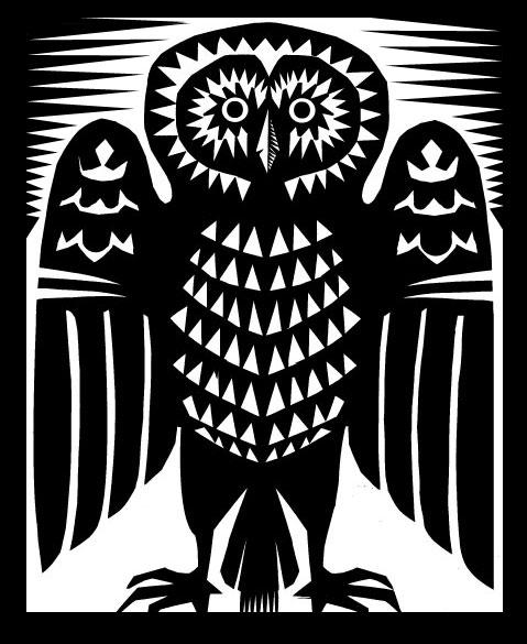 Cut paper owl, Q. Cassetti, 2013, Trumansburg, NY