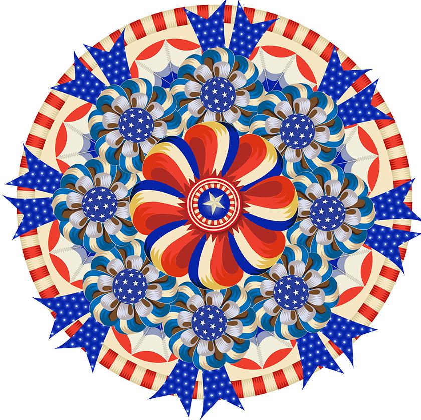 My America: Blue Ribbon Rondelle, Q. Cassetti, 2013, Trumansburg, NY, Adobe Illustrator CC