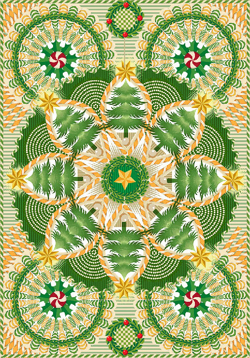 Advent 2013: Day Two, Holiday Mandala  Q. Cassetti, 2013  Trumansburg, NY Adobe Illustrator CC