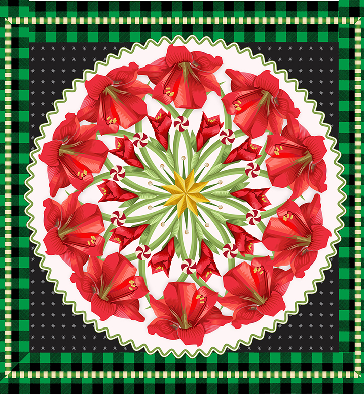Advent 2013: Day Eighteen:Red and Green Wreath,   Q. Cassetti 2013   Trumansburg, NY   Adobe Illustrator CC