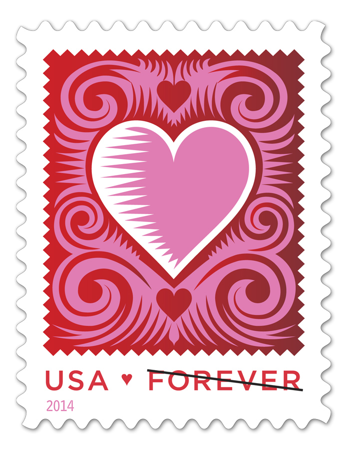 Cut Paper Heart, 2014 Love Stamp for the United States Post Office Date of Issue: 01/21/2014, New York, New York 10019 Art Director:Antonio Alcalá Illustrator: Q. Cassetti   Background information: A Heart with A History by Hilary Oswald   US Postal Service Press Release    Buy this stamp and commemorative products