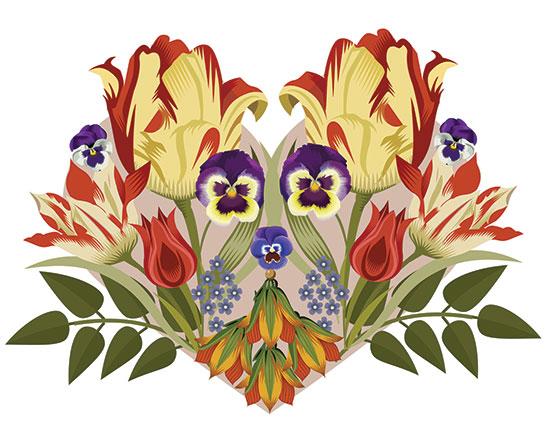 Floral Heart, Q. Cassetti, 2014, Adobe Illustrator CC