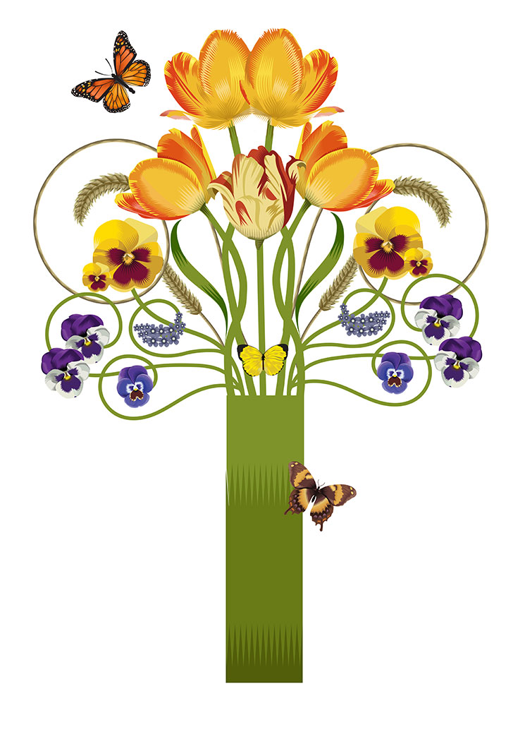 Spring Bouquet, Q. Cassetti 2014, Adobe Illustrator.