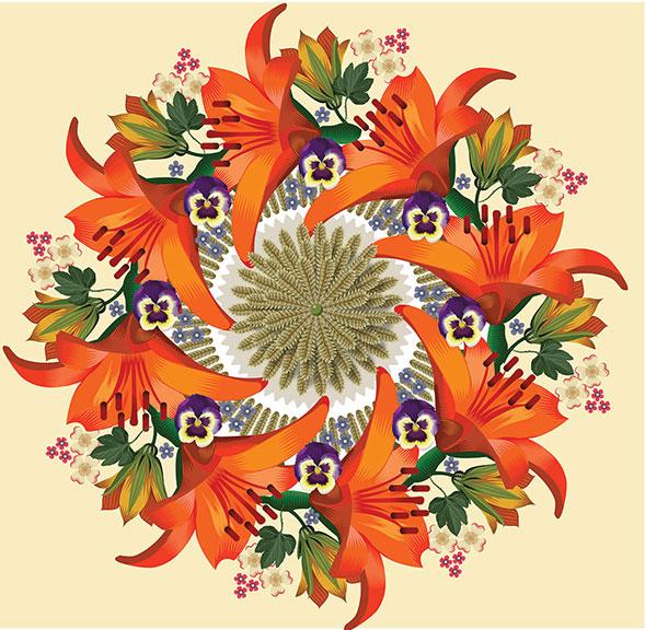 Day Lily Wreath, Q. Cassetti, 2014, Trumansburg, NY, Adobe Illustrator CC