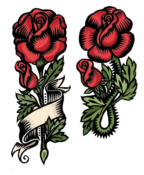 Rose Flash, Q. Cassetti, 2014, pen and ink, digitally colored.