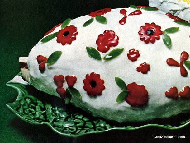 """Cold Glazed Baked Ham"" www.http://clickamericana.com/topics/food-drink/cold-glazed-baked-ham-recipe-flowers-1965"