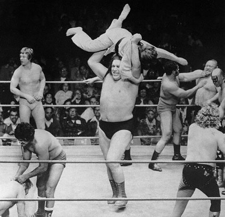 Andre the Giant, doing his thing in the ring.