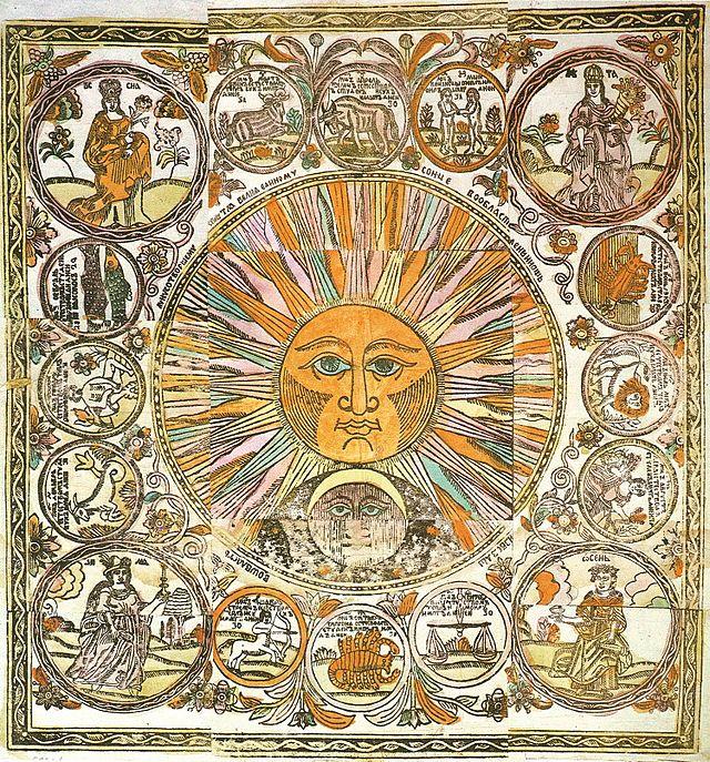 A depiction of (example of Lubki illustration/art style)  Солнце, Луна, времена года и двенадцать месяцев в виде знаков Зодиака. Лубок. Конец XVII -начало XVIII в.