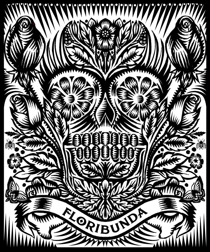 Florabunda, Q. Cassetti 2014, pen and ink, digitally finished in Adobe Iillustrator.