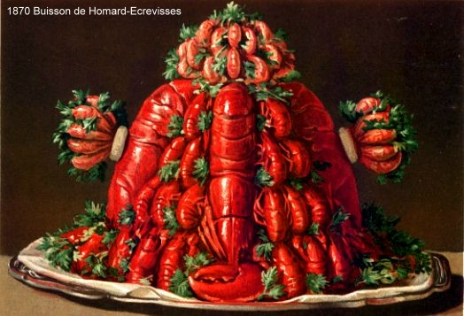 Jules Gouffe, 1879, Buisson de Homard- Ecrevisses. An explosion of lobsters and crayfish (not an exact translation by any means).