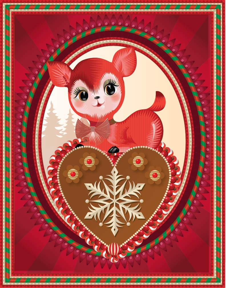 Advent 2014: Day 13: Little Red Deer Love Q. Cassetti, 2014 Adobe Illustrator CC 2014