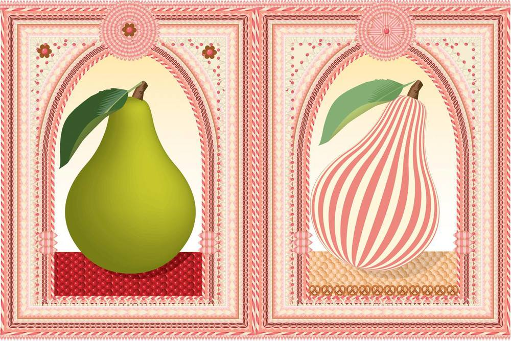 Advent 2014: Day 15: Pair of Pears Q. Cassetti, 2014 Adobe Illustrator CC 2014
