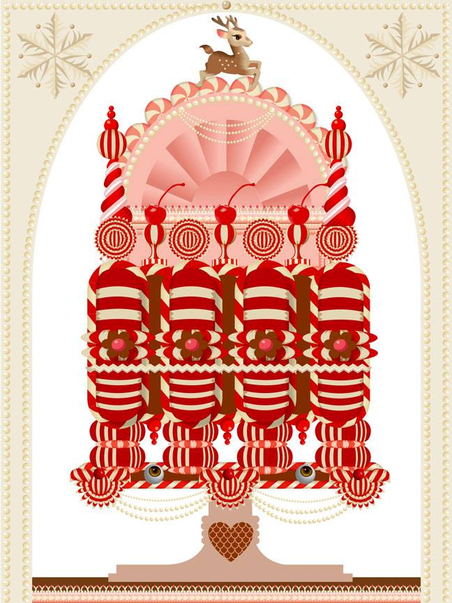 Advent 2014: Day 17: Christmas Cake V2  Q. Cassetti  Adobe Illustrator CC2014