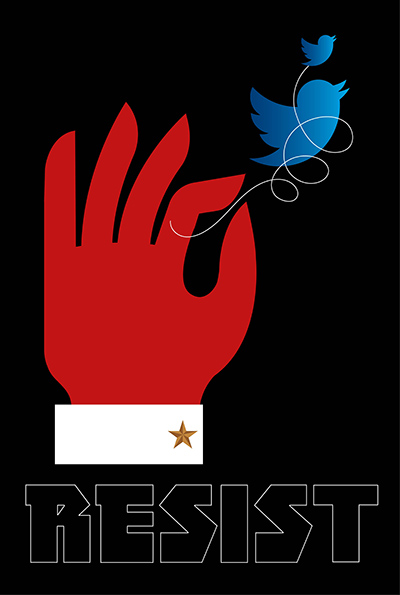 Twitter Control Week Twenty One of the Resistance Q.Cassetti 6.16.2017 Adobe Illustrator CC