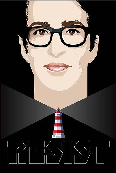 Lighthouse: Rachel Maddow Week Twenty Fiveof the Resistance Q.Cassetti 7. 14.2017 Adobe Illustrator CC  Portrait inspired by Alex Katz.