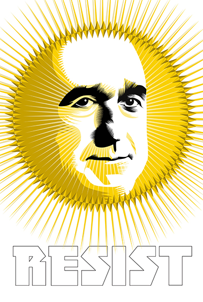 """""""It is during our darkest moments we must focus to see the light."""" --Aristotle Golden Sun: Robert Mueller Week Twenty Six of the Resistance Q.Cassetti 7. 21.2017 Adobe Illustrator CC"""