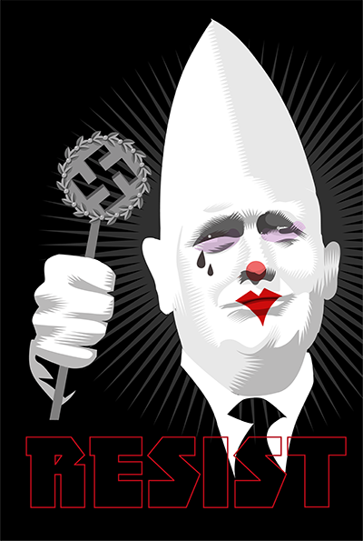 "Leader of the Klowns ""Some very fine people on both sides"" Week Thirty One of the Resistance Q.Cassetti 8. 25..2017 Adobe Illustrator"