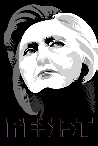 """The Other Candidate: Hillary   Week Thirty Four of the Resistance  Q.Cassetti 9.15.2017 Adobe Illustrator  """" Women are always being tested... but ultimately, each of us has to define who we are individually and then do the very best job we can to grow into it.""""  Hillary Rodham Clinton"""