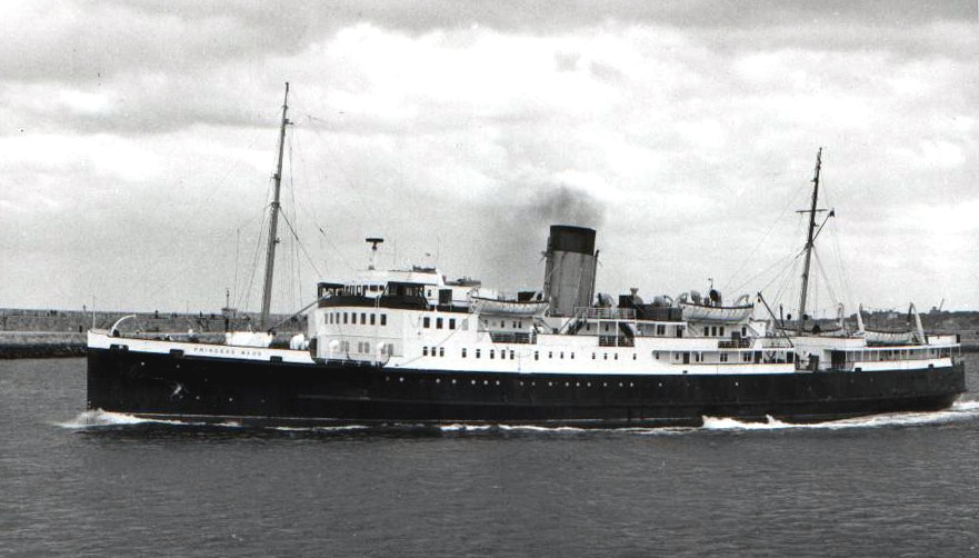 Princess Maud arriving at Holyhead in in 1959