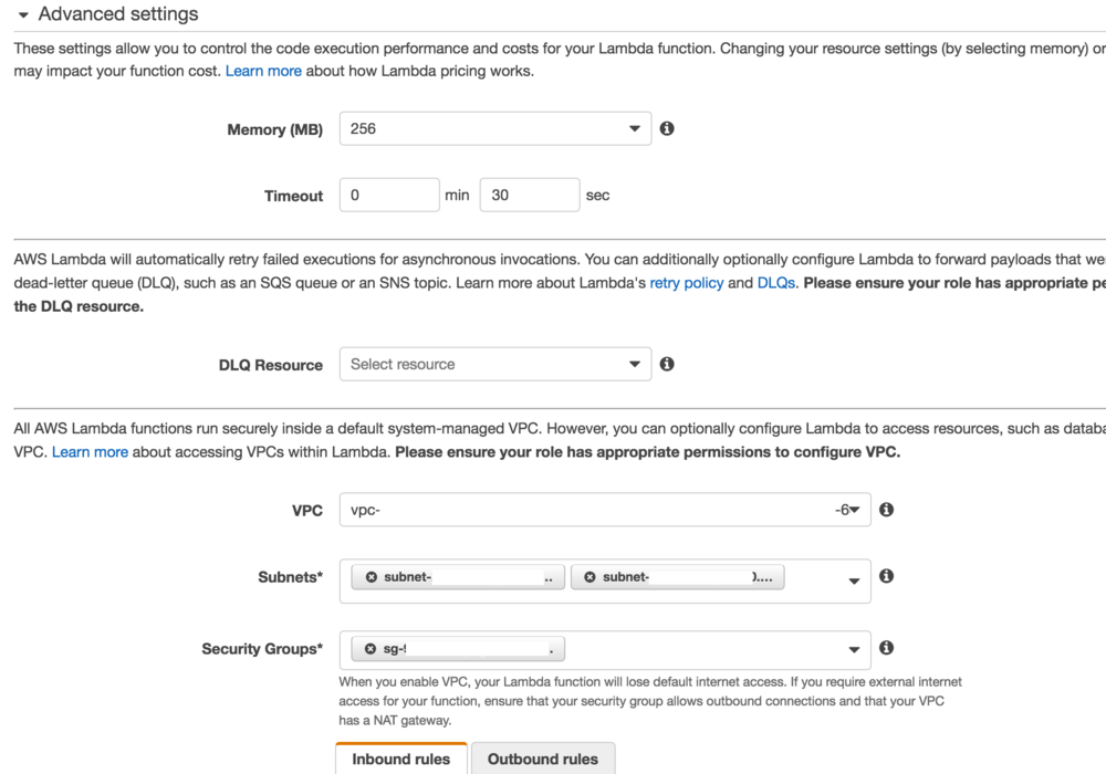 Image 3: selecting the appropriate VPC, subnets and SecurityGroups for your Lambda