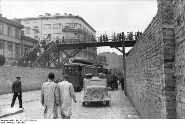 The bridge built to join the two sections of the ghetto with the Aryan tramway passing beneath.
