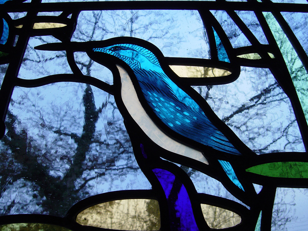 Detail of kingfisher window, Edenbridge, Kent.