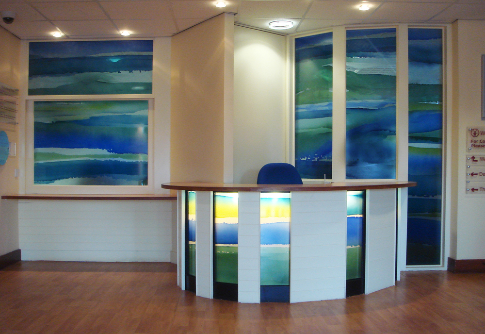 Glass for Reception, Abraham Cowley MH Unit, Surrey and Borders NHS Trust.