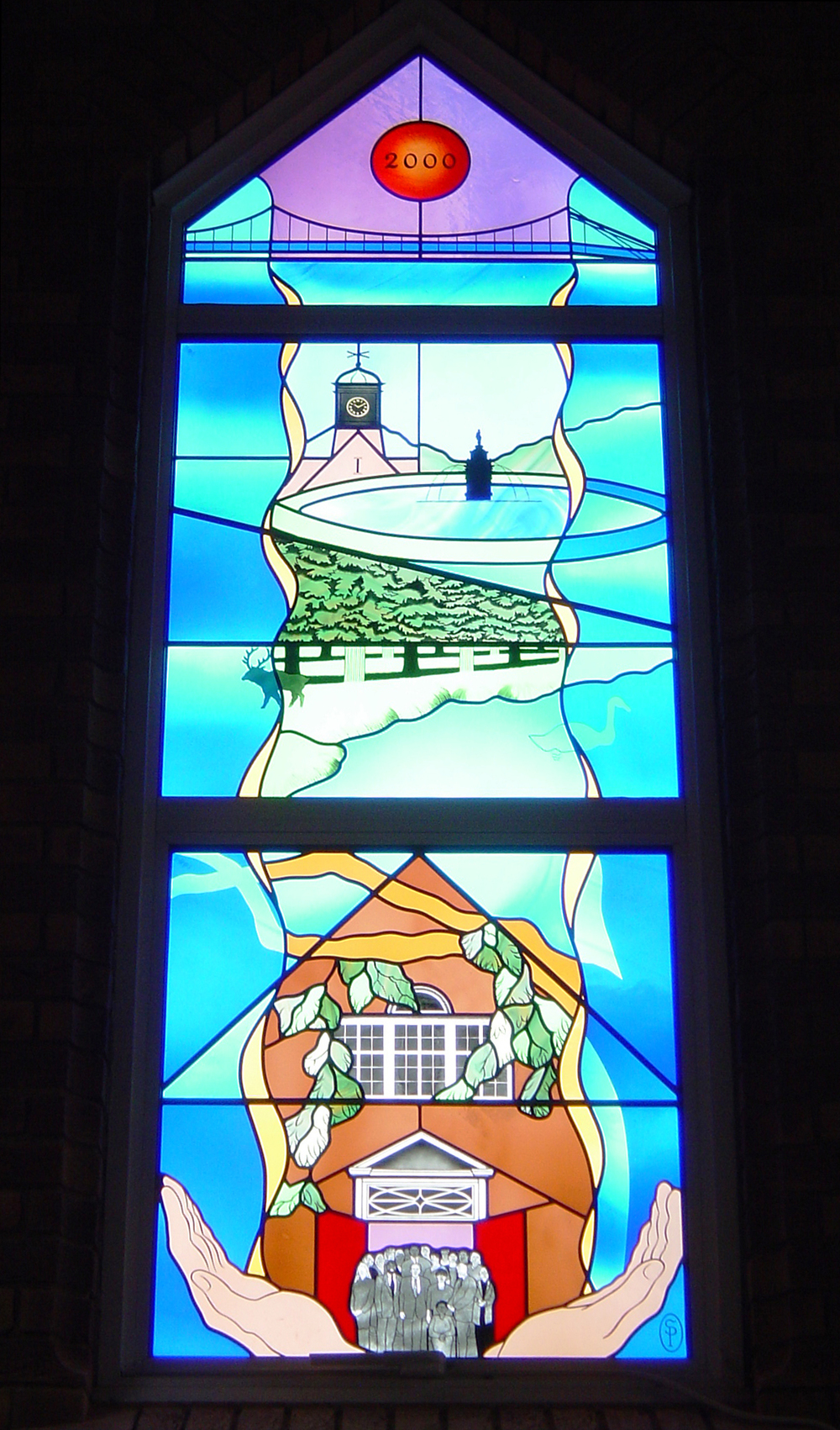 Millenium window in chapel, Teddington Memorial Hospital, Middlesex.