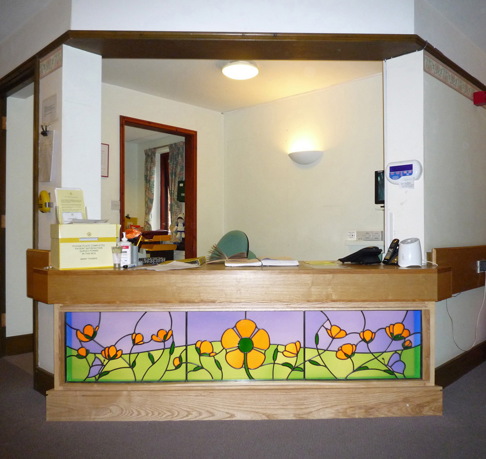 Glass light-box in internal reception, Heart of Kent Hospice, Aylesford, Kent.