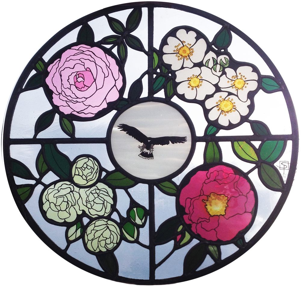 Roses window for private residence, East Sussex.