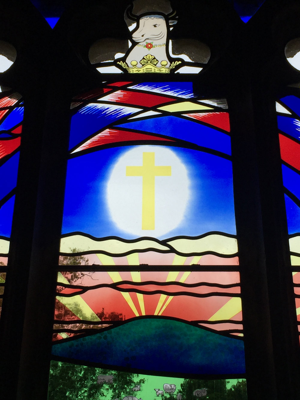 Central panel detail of stained glass for Eridge Church window
