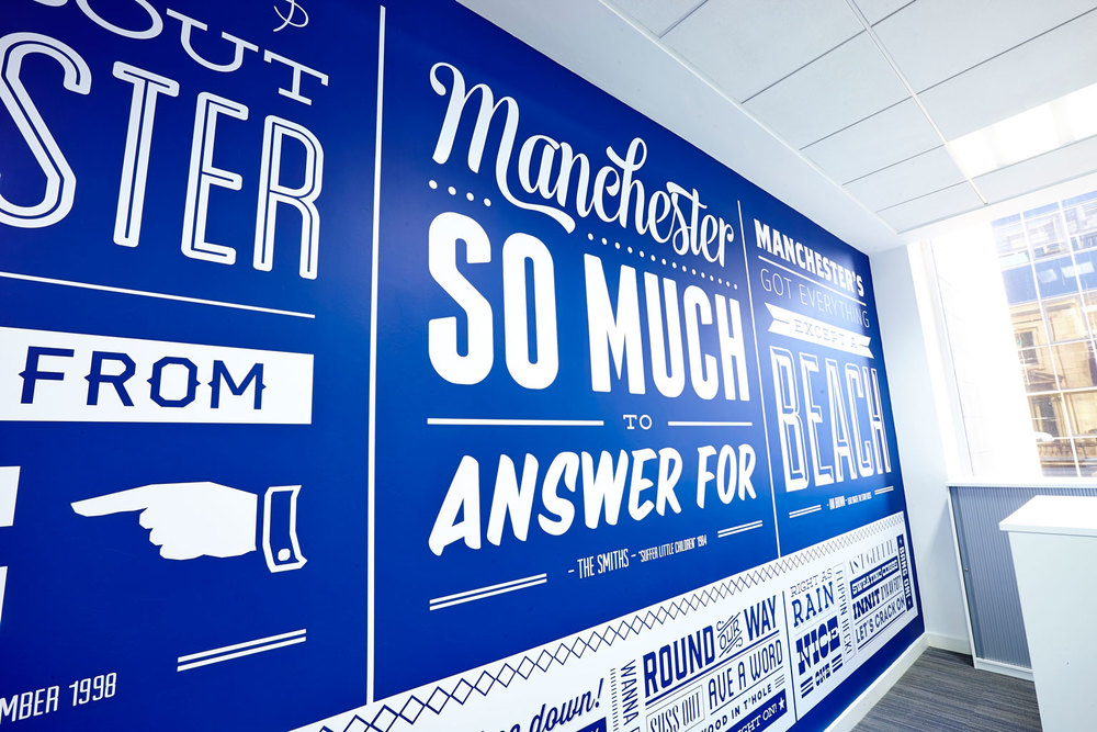 Bespoke Typographic Wall Mural Project:  Pulse Manchester