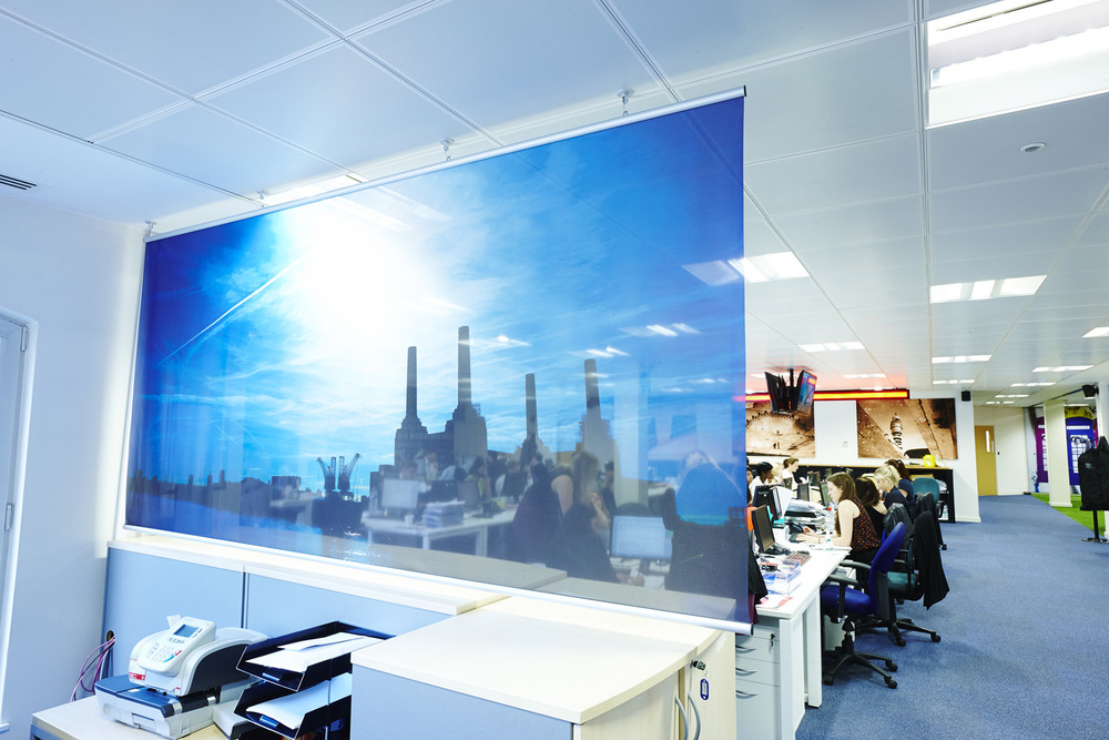 Bespoke Suspended Graphic Screen Project:   Asclepius Global